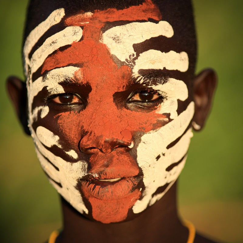 Ethiopian Tribes, Suri boy, body painting