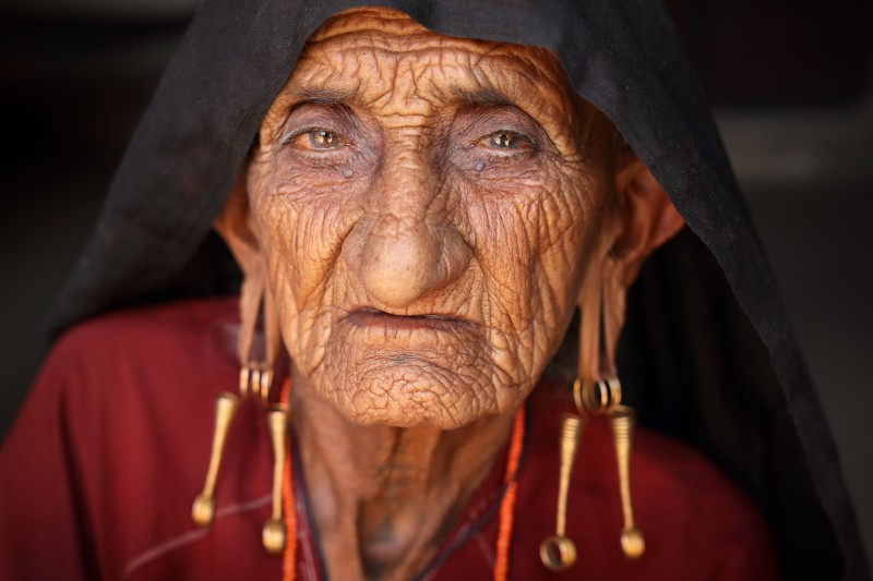 India, old Rabari woman in Kutch