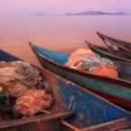Colorful fishing boats on Lake...