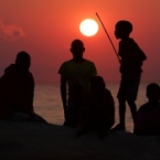 Malawi, fishermen at sunrise