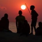 Malawi, fishermen at sunrise